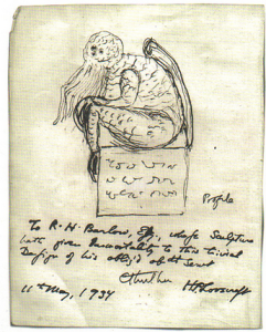 Lovecraft sketches Cthulhu. 1934